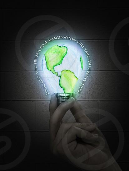 Albert Einstein imagination innovation idea geographic illustration lightbulb photo