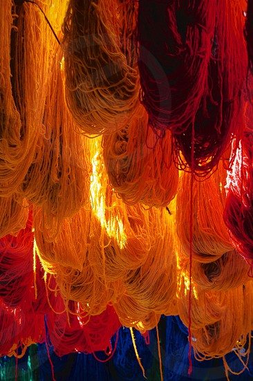 Colorful dyed Yarn - Marrakech Morocco photo