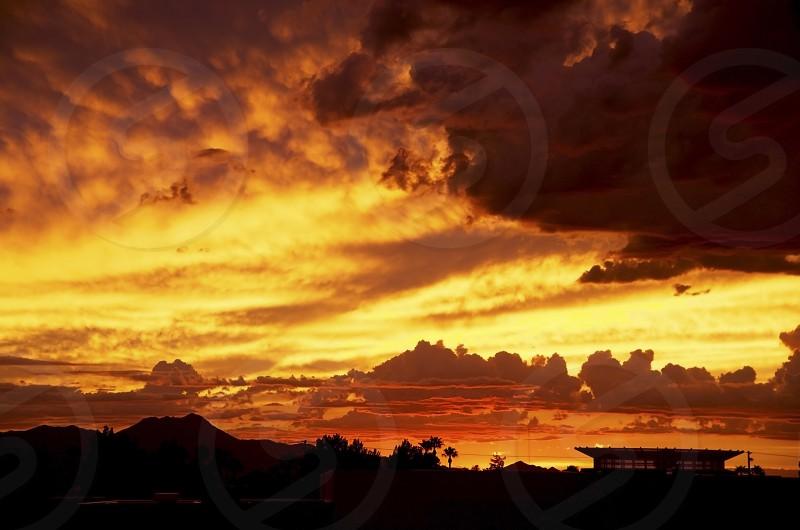 Golden Sunset. Cloudy after rain photo