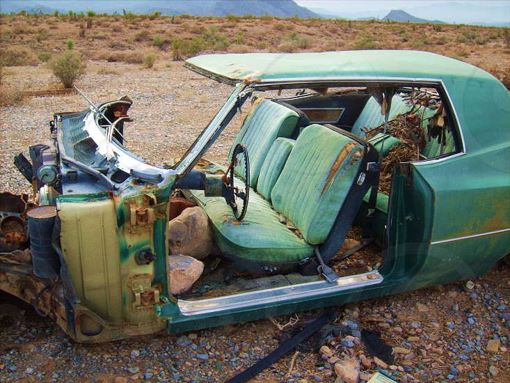 rusted green classic car photo