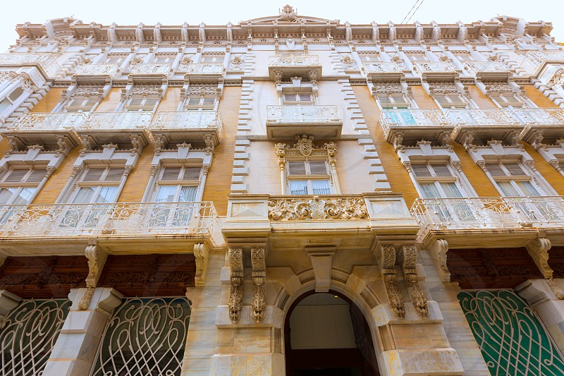 Cartagena modernist buildings downtown in Murcia Spain photo