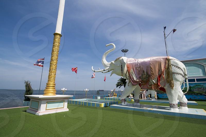 elephant statue at the coast in the Park of the Sukhawadee Palace near the city of Pattaya in the Provinz Chonburi in Thailand.  Thailand Pattaya November 2018 photo