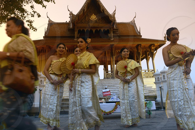 traditional Thai Dance in the Santichaiprakan Park at the Mae Nam Chao Phraya River in the city of Bangkok in Thailand in Southeastasia. photo