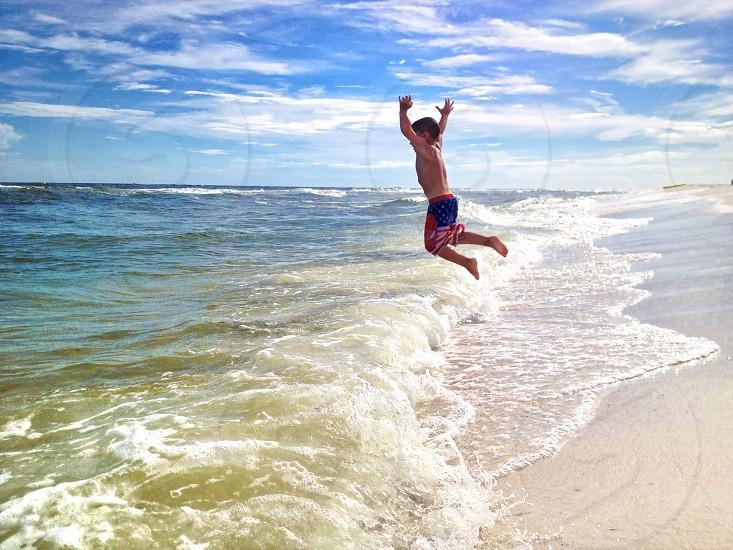mens american flag swimming trunks  photo