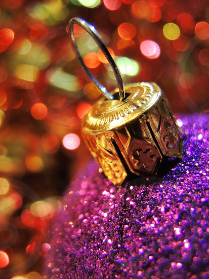 purple and silver christmas ball decor photo
