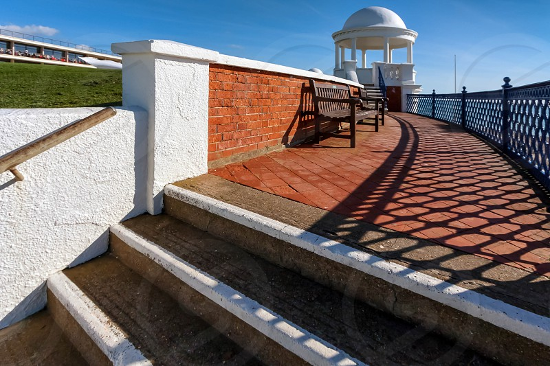 Colonnade in grounds of De La Warr Pavilion in Bexhill-On-Sea photo