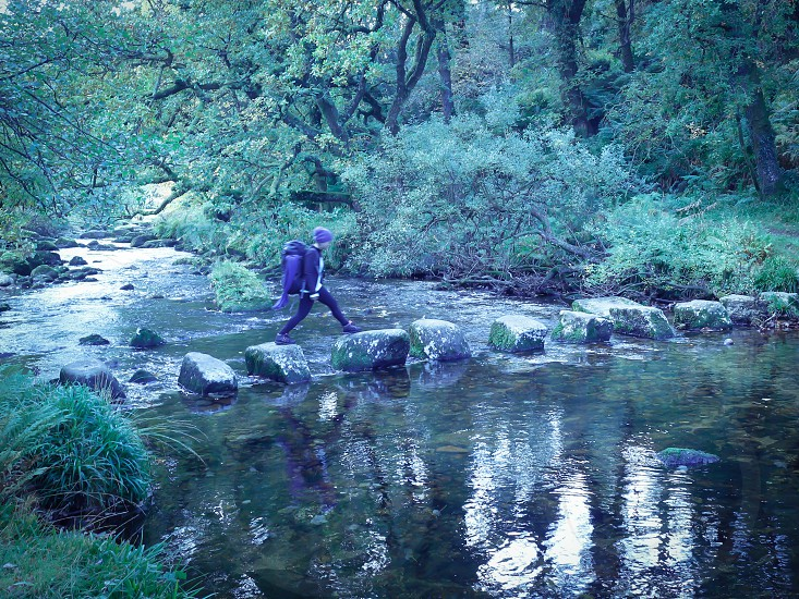 Dartmoor  wild camping adventure  forest  river dart river England countryside nature stepping stones  Devon south England weekend trip backpack explore rural holistic  photo