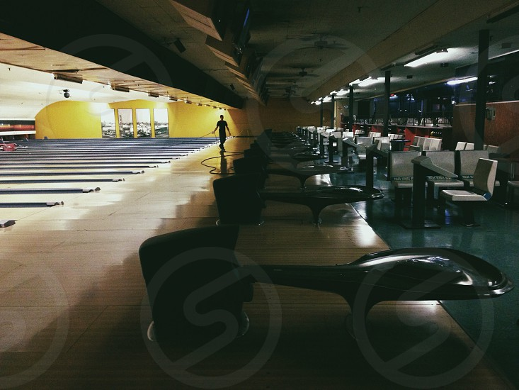 man at the bowling court photo
