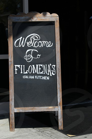 Welcome sign at Filomena's Italian Kitchen photo