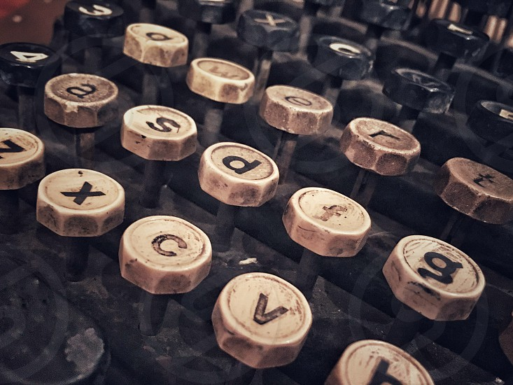 Vintage; typewriter; write; writer; alphabet; letters; words; antique; old; type photo