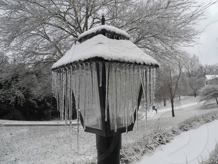 light post with icicles near a narrow path photo