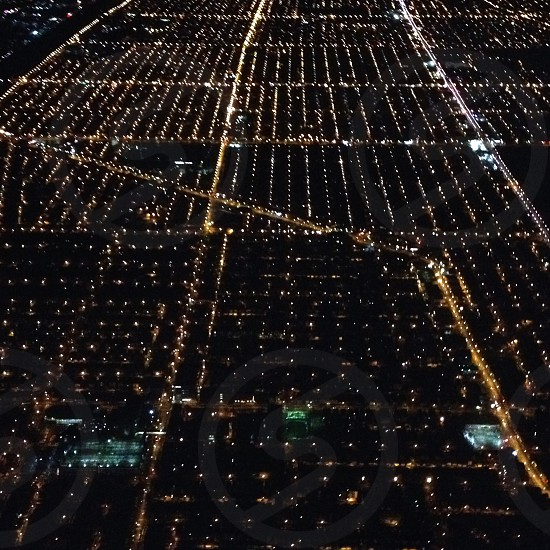 High above the city. -Chicago before sunrise photo
