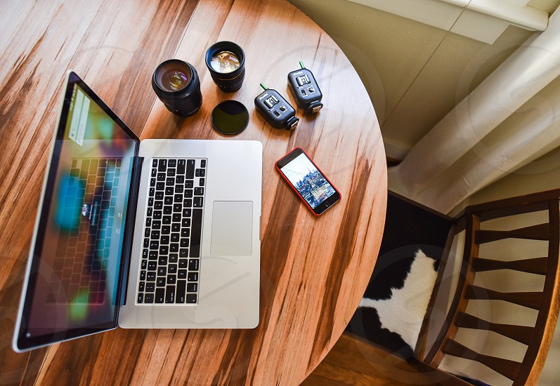 home office workplace photographer desk equipment  photo