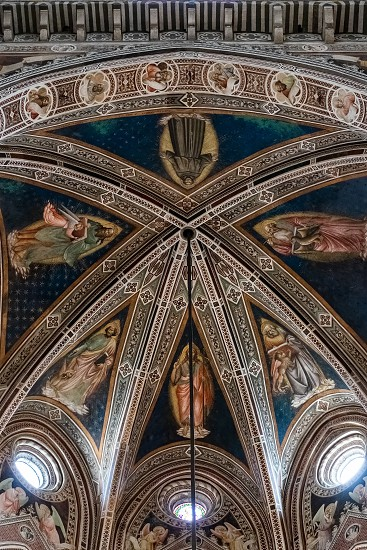 FLORENCE TUSCANY/ITALY - OCTOBER 19 : Interior view of the ceiling in Santa Croce Church in Florence on October 19 2019 photo