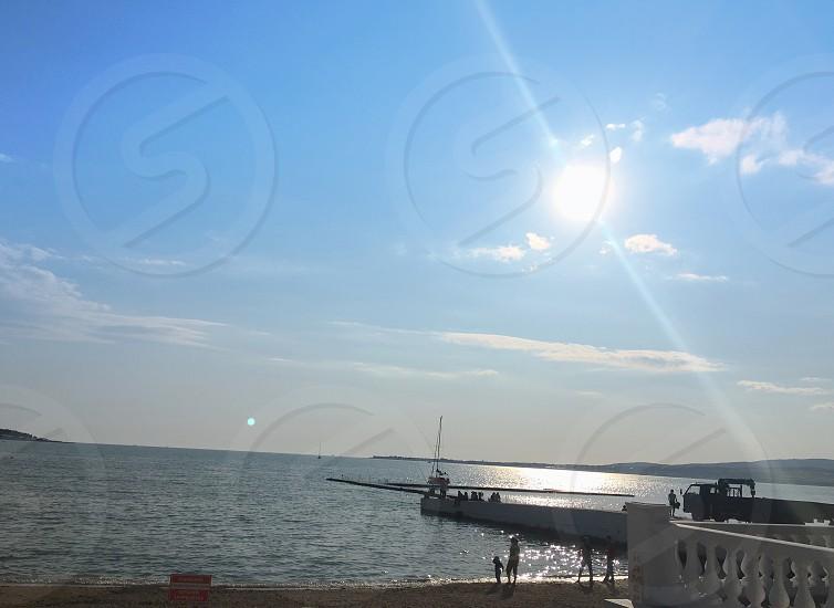 Sea city port summer sun photo