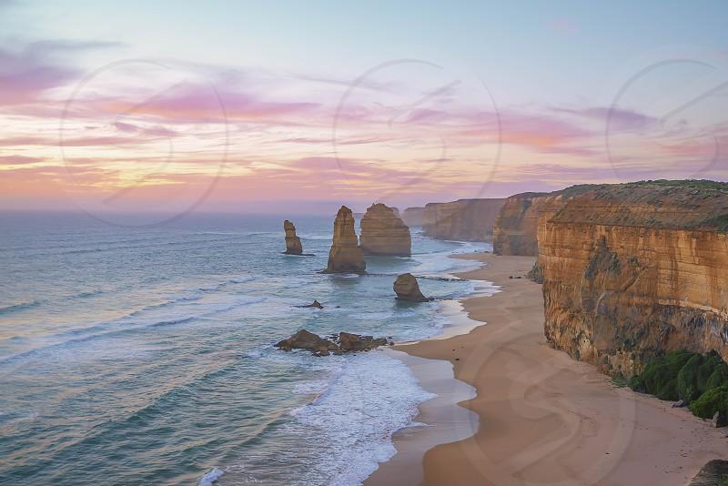 Majestic sunset at The Twelve Apostles Great Ocean Road Victoria Australia photo