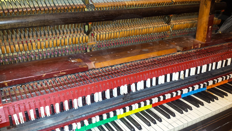 Piano organ colorful red yellow green orange blue piano keys  photo