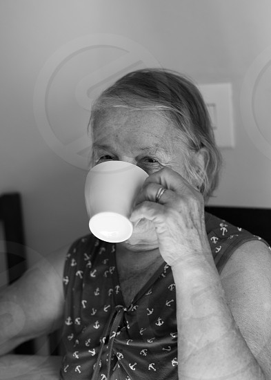 home old grandmother Grandma woman coffee breakfast photo