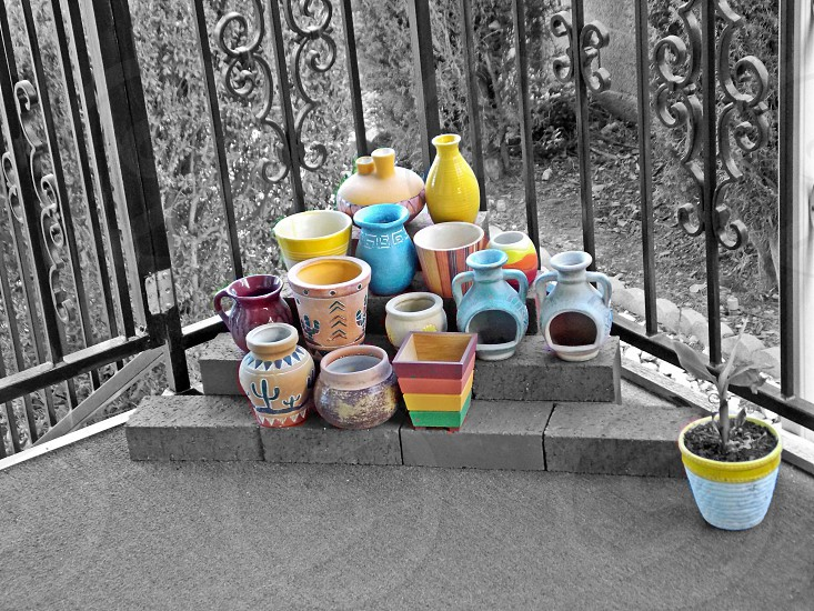 B & W with color pots photo