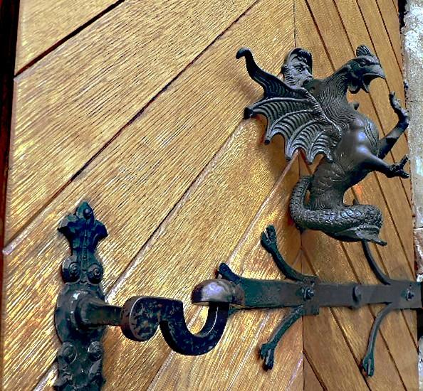 Old door: hinge handle and knocker photo