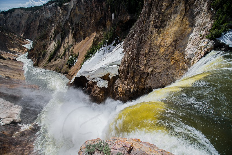 Looking down over the Lower Falls at Yellowstone. photo