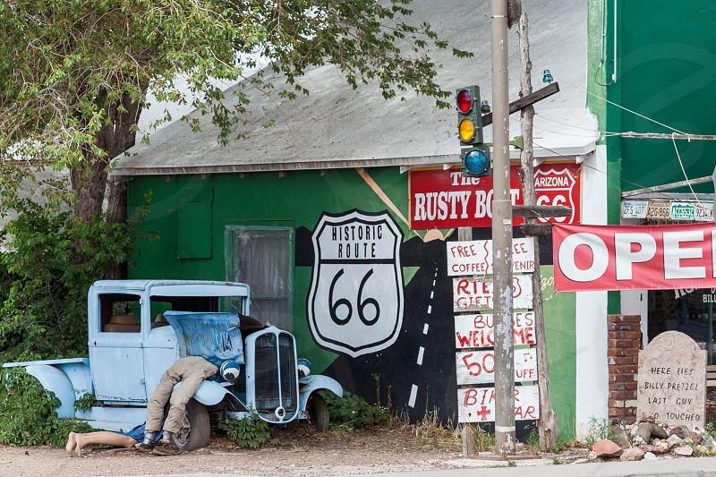 SELIGMAN ARIZONA/USA - JULY 31 : Here lies Billy Pretzel on Route 66 in Seligman Arizona on July 31 2011 photo