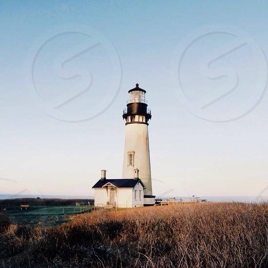 white and black lighthouse under blue sky photo