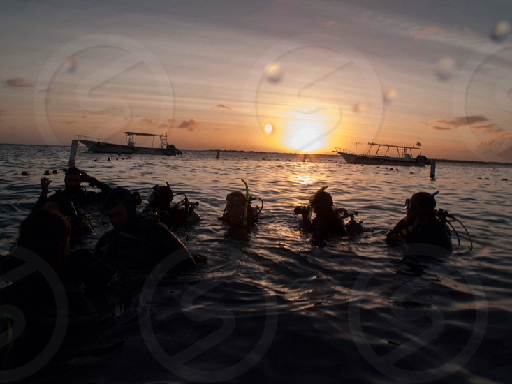scuba divers looking at sunset view photo