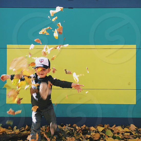 Fall autumn leaf leaves boy child happy photo