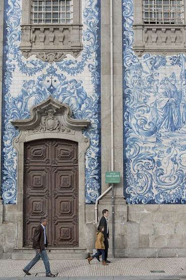hand painted tile azulejo in the old town of  ribeira in the city centre of Porto in Porugal in Europe. photo