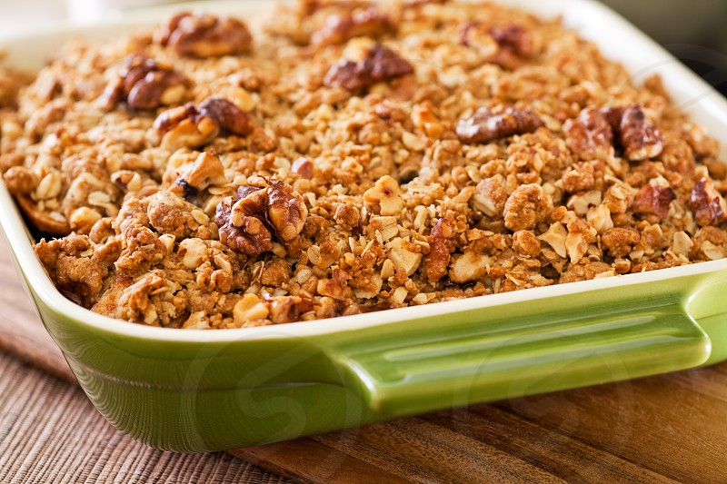 Hot apple crisp with pecans fresh from the oven! photo