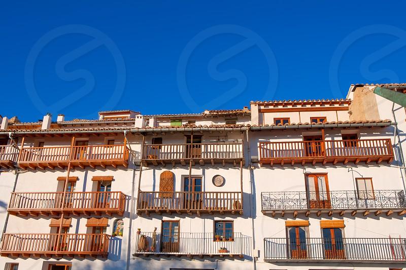 Morella in Maestrazgo castellon village facades at Spain photo