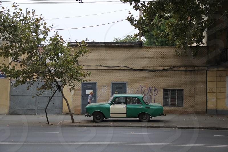 ukraine cargreenyellowladytreesovietstreetcalmrare photo