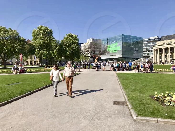 Germany Stuttgart pedestrian street downtown photo
