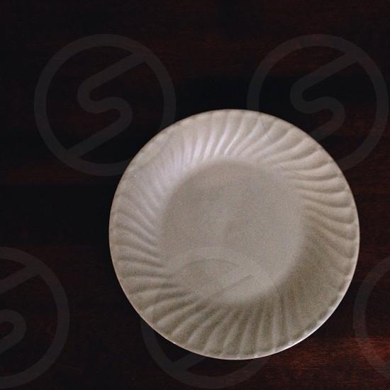 white ceramic round plate photo
