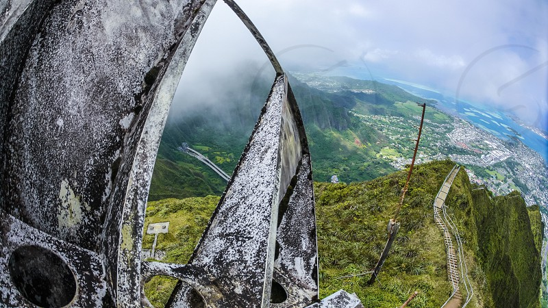 Old radio station on Top of the hill aka top of stairway to heaven Hawaii Oahu island photo