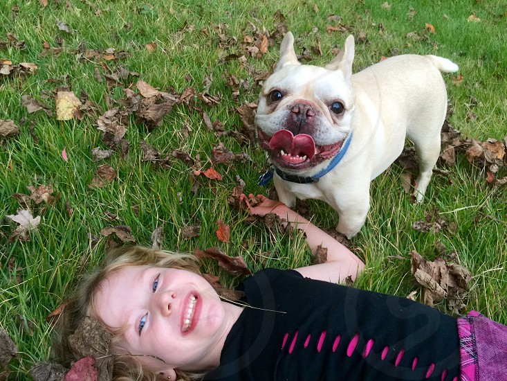 """My daughter and our French Bulldog """"Chip"""" photo"""
