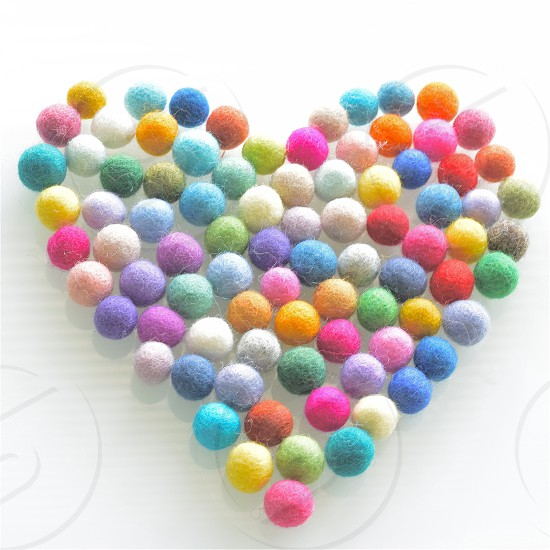 assorted heart designed cotton balls photo