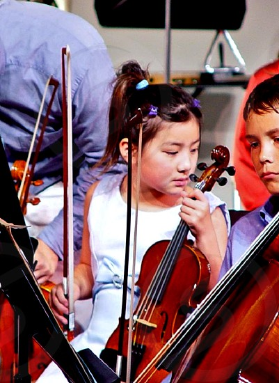 Young violist at a music camp photo
