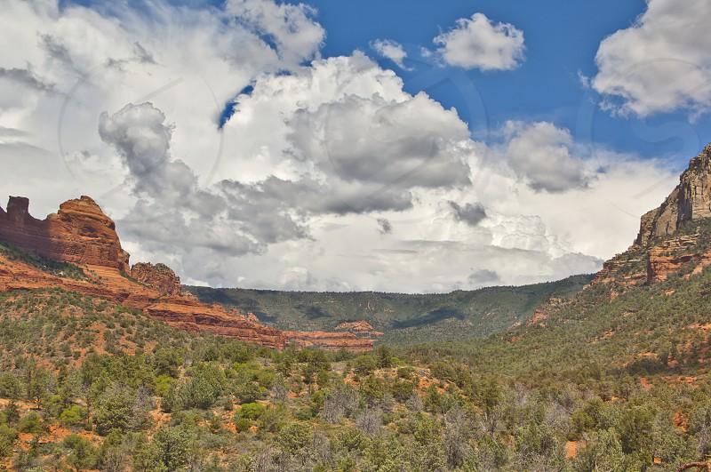 A monsoon storm approaching Oak Creek Canyon near Sedona Arizona. photo