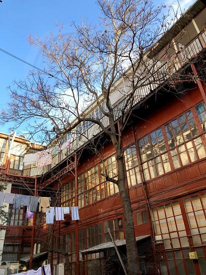 Old common yards of the twentieth century.  Wooden balcony. Urban landscape  photo