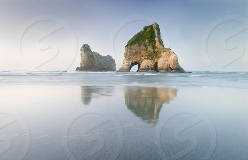 Wharariki Beach on New Zealand's South Island  photo