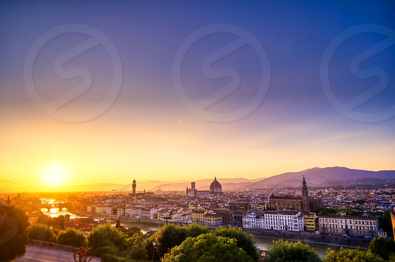 The sunset over Florence capital of Italy's Tuscany region. photo