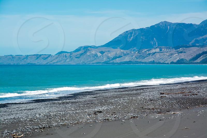 Rugged coastline of Kaikoura in Canterbury Region South Island of New Zealand photo