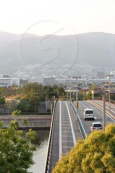 Bridge and mountains in Ashiya Japan photo