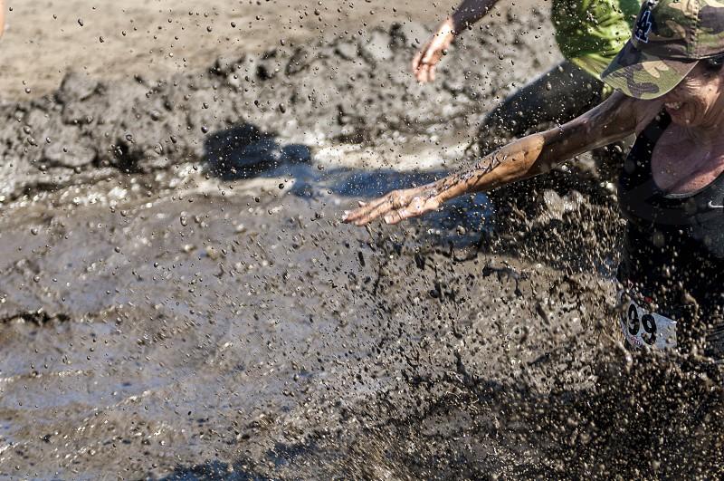 mud run adventure race temecula southern California galway downs runners water trap mud photo
