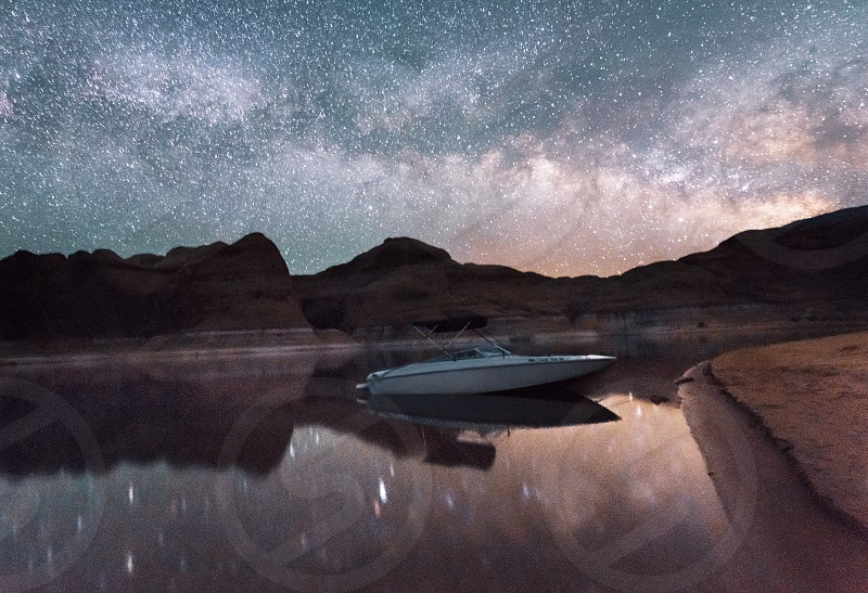 Boat night Astro photography Milky Way summer nights  photo