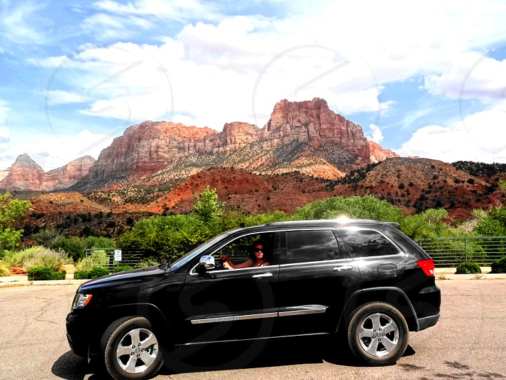 jeep in zion national park photo