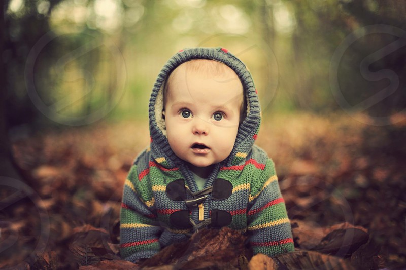 Cute baby portrait in autumn photo