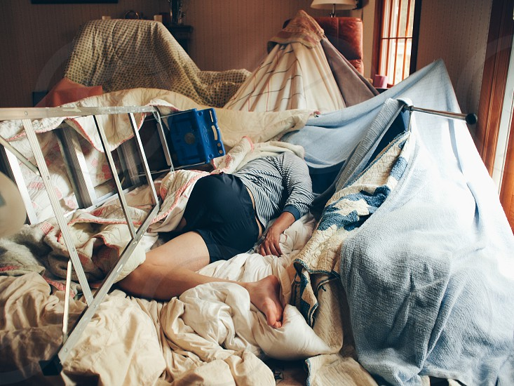 Blanket fort down photo